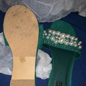 Green slides with pearls